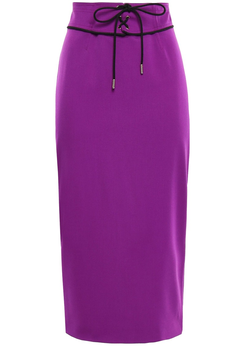 Emilio Pucci Woman Lace-up Wool-blend Midi Pencil Skirt Violet