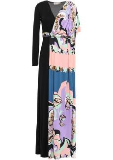 Emilio Pucci Woman Layered Draped Printed Jersey Maxi Dress Black