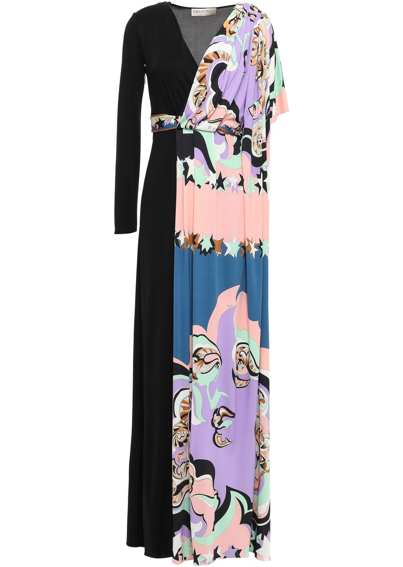 Emilio Pucci Woman Layered Draped Printed Jersey Maxi Dress Black