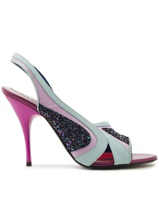 Emilio Pucci Woman Leather Pvc And Glittered Canvas Slingback Sandals Mint