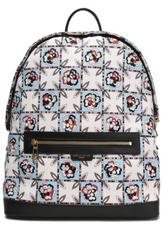 Emilio Pucci Woman Leather-trimmed Checked Twill Backpack Off-white