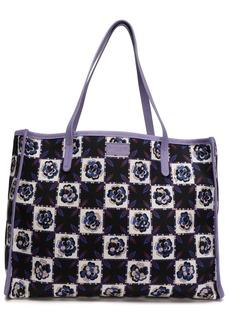 Emilio Pucci Woman Leather-trimmed Checked Twill Tote Lavender