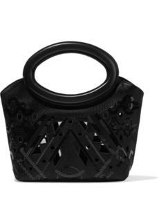 Emilio Pucci Woman Leather-trimmed Embellished Cutout Satin Tote Black