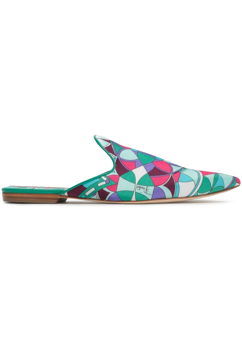 Emilio Pucci Woman Leather-trimmed Printed Cotton-blend Satin Slippers Jade