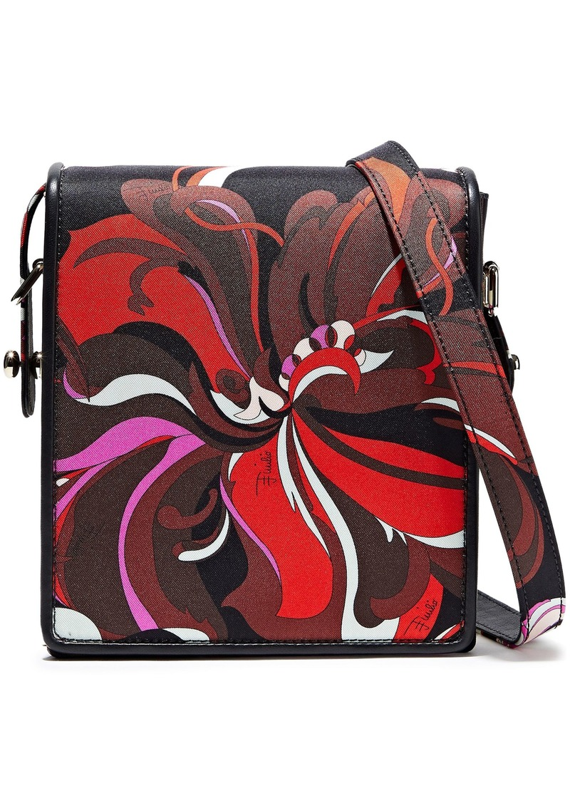 Emilio Pucci Woman Leather-trimmed Printed Satin-twill Shoulder Bag Black