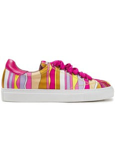 Emilio Pucci Woman Leather-trimmed Printed Satin-twill Sneakers Fuchsia