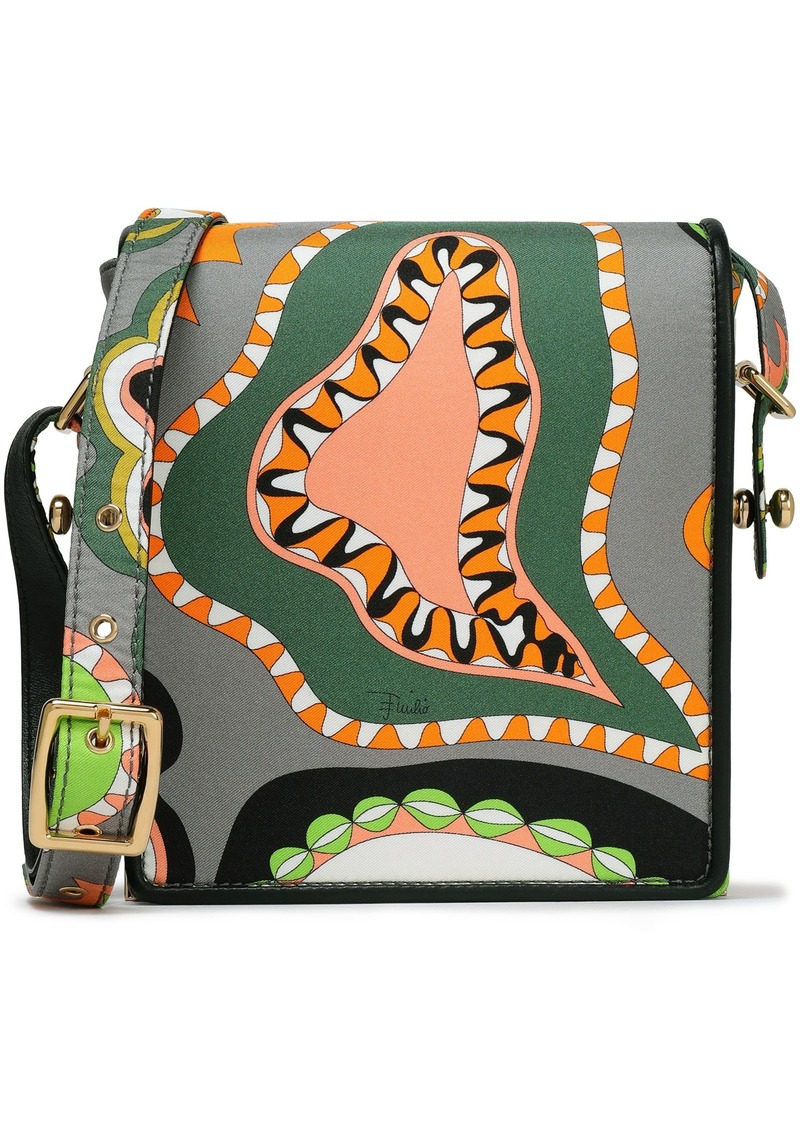 Emilio Pucci Woman Leather-trimmed Printed Silk-twill Shoulder Bag Gray