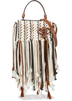 Emilio Pucci Woman Leather-trimmed Tasseled Macramé Shoulder Bag Ivory