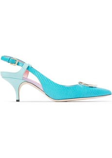 Emilio Pucci Woman Logo-embellished Lizard-effect Leather Slingback Pumps Turquoise