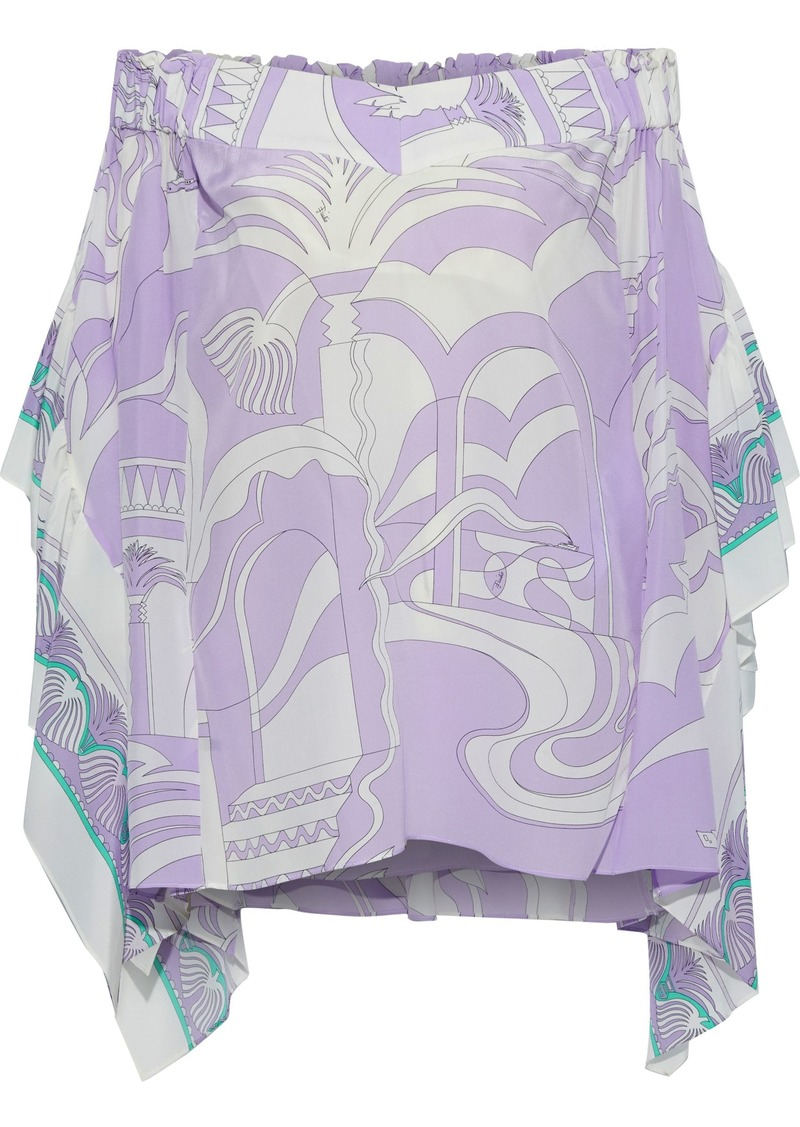 Emilio Pucci Woman Off-the-shoulder Draped Printed Silk Crepe De Chine Top Lilac