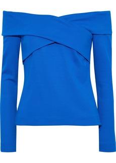 Emilio Pucci Woman Off-the-shoulder Ponte Top Blue