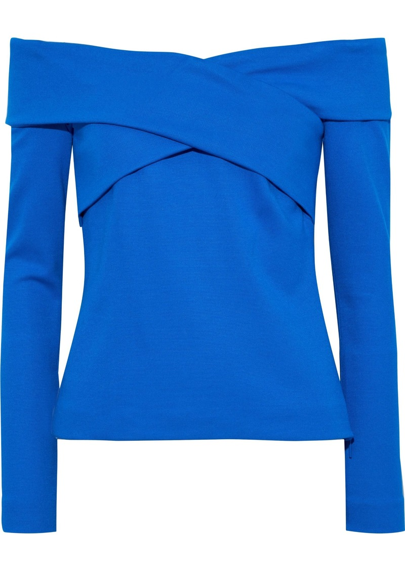 Emilio Pucci Woman Off-the-shoulder Ponte Top Blue