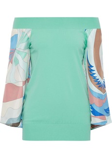 Emilio Pucci Woman Off-the-shoulder Printed Satin Twill-paneled Knitted Top Mint