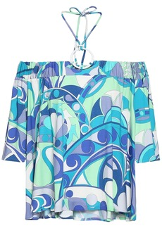 Emilio Pucci Woman Off-the-shoulder Printed Stretch-jersey Halterneck Top Turquoise