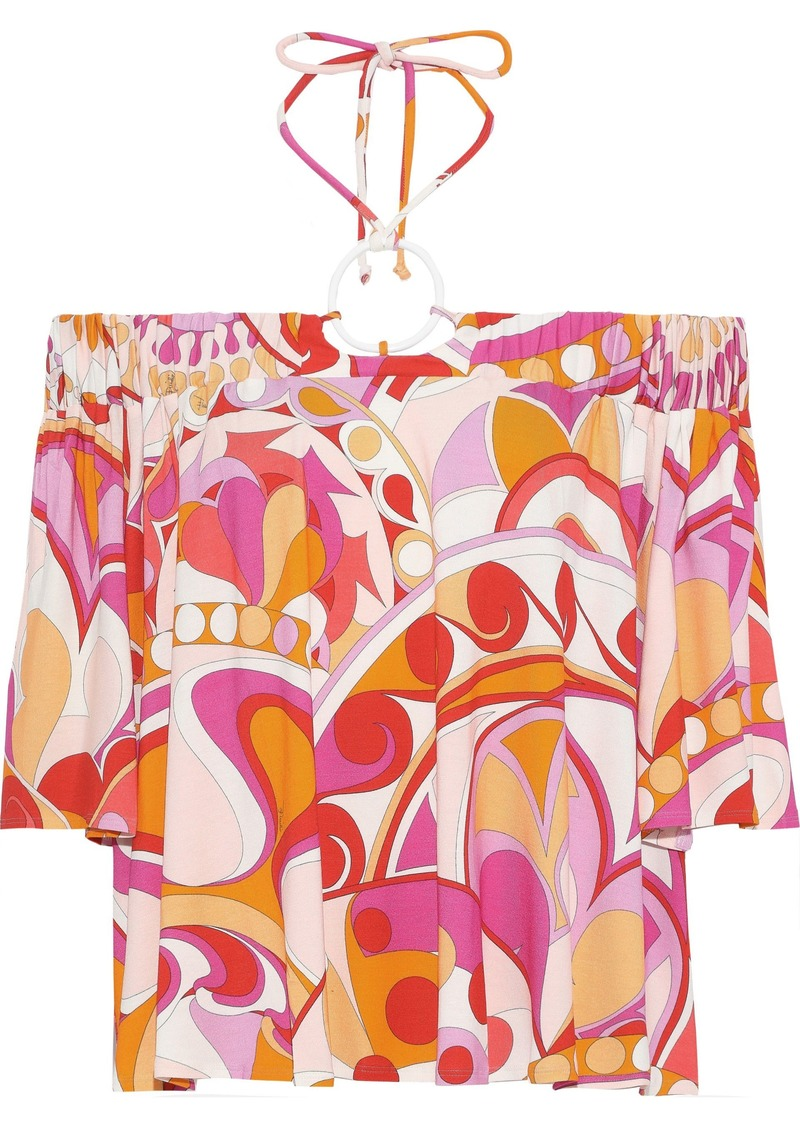 Emilio Pucci Woman Off-the-shoulder Printed Stretch-jersey Top Pink