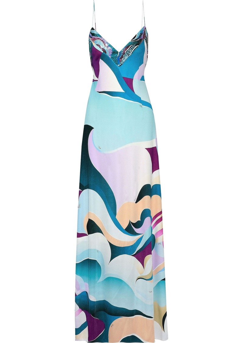 Emilio Pucci Woman Open-back Sequin-embellished Printed Silk-jersey Gown Sky Blue