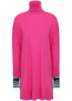 Emilio Pucci Woman Oversized Satin Twill-trimmed Wool Turtleneck Sweater Fuchsia
