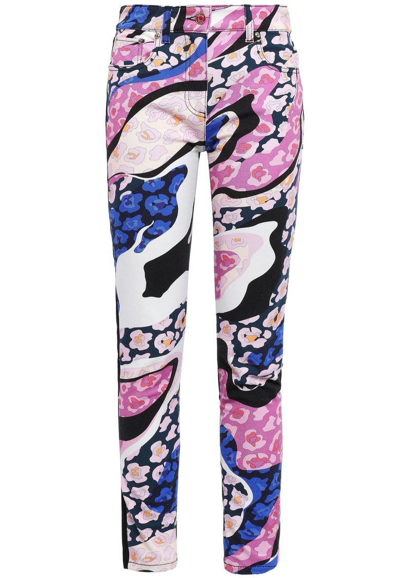 Emilio Pucci Woman Paneled Embroidered Printed High-rise Skinny Jeans Pink
