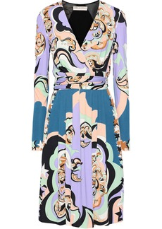 Emilio Pucci Woman Paneled Printed Jersey Wrap Dress Lavender