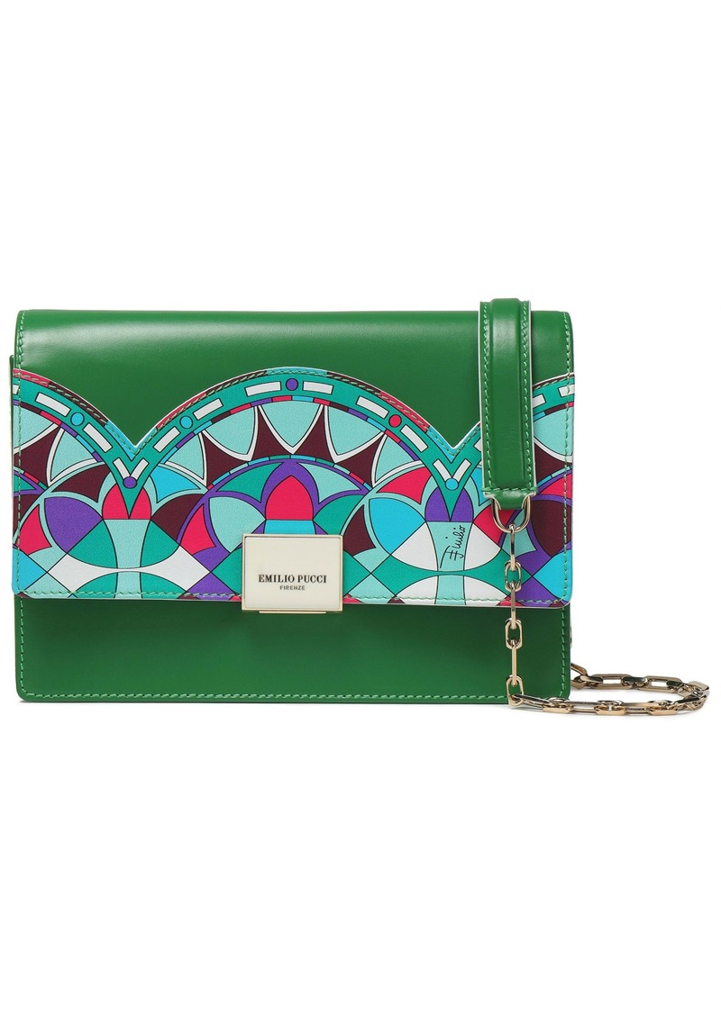 Emilio Pucci Woman Paneled Printed Leather Shoulder Bag Green