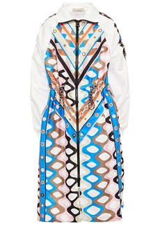 Emilio Pucci Woman Paneled Printed Shell Coat Off-white