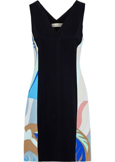 Emilio Pucci Woman Paneled Printed Stretch-cady Mini Dress Black