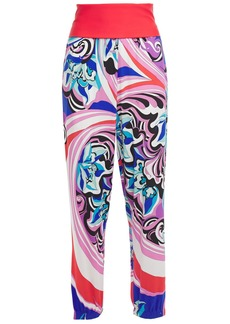 Emilio Pucci Woman Paneled Printed Stretch-jersey Tapered Pants Pink