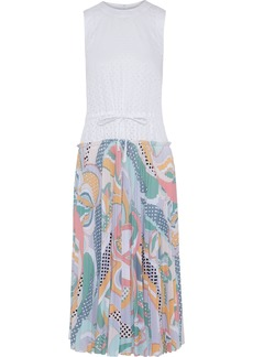 Emilio Pucci Woman Perforated Poplin And Printed Crepe De Chine Midi Dress White