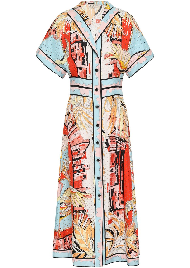 Emilio Pucci Woman Perforated Printed Silk-twill Midi Dress Sky Blue