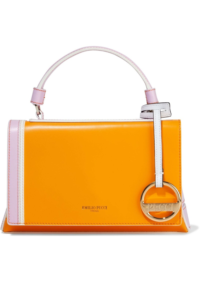 Emilio Pucci Woman Pilot Mini Color-block Leather Shoulder Bag Orange