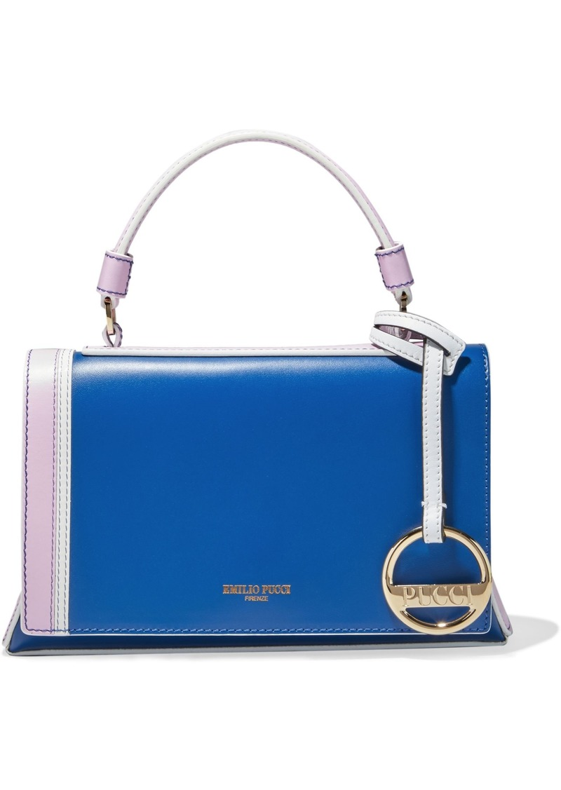 Emilio Pucci Woman Pilot Mini Color-block Leather Shoulder Bag Blue