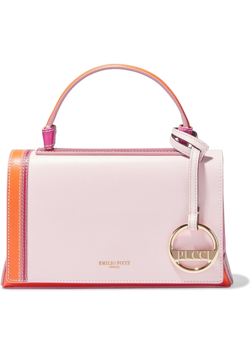 Emilio Pucci Woman Pilot Mini Color-block Leather Shoulder Bag Pastel Pink