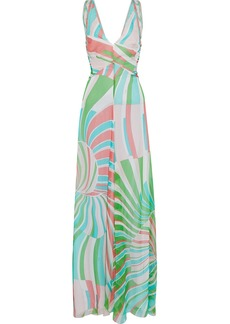Emilio Pucci Woman Pintucked Printed Silk-chiffon Gown Bright Green