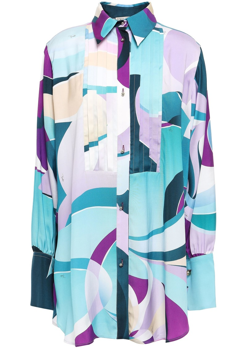 Emilio Pucci Woman Pintucked Printed Twill Shirt Turquoise