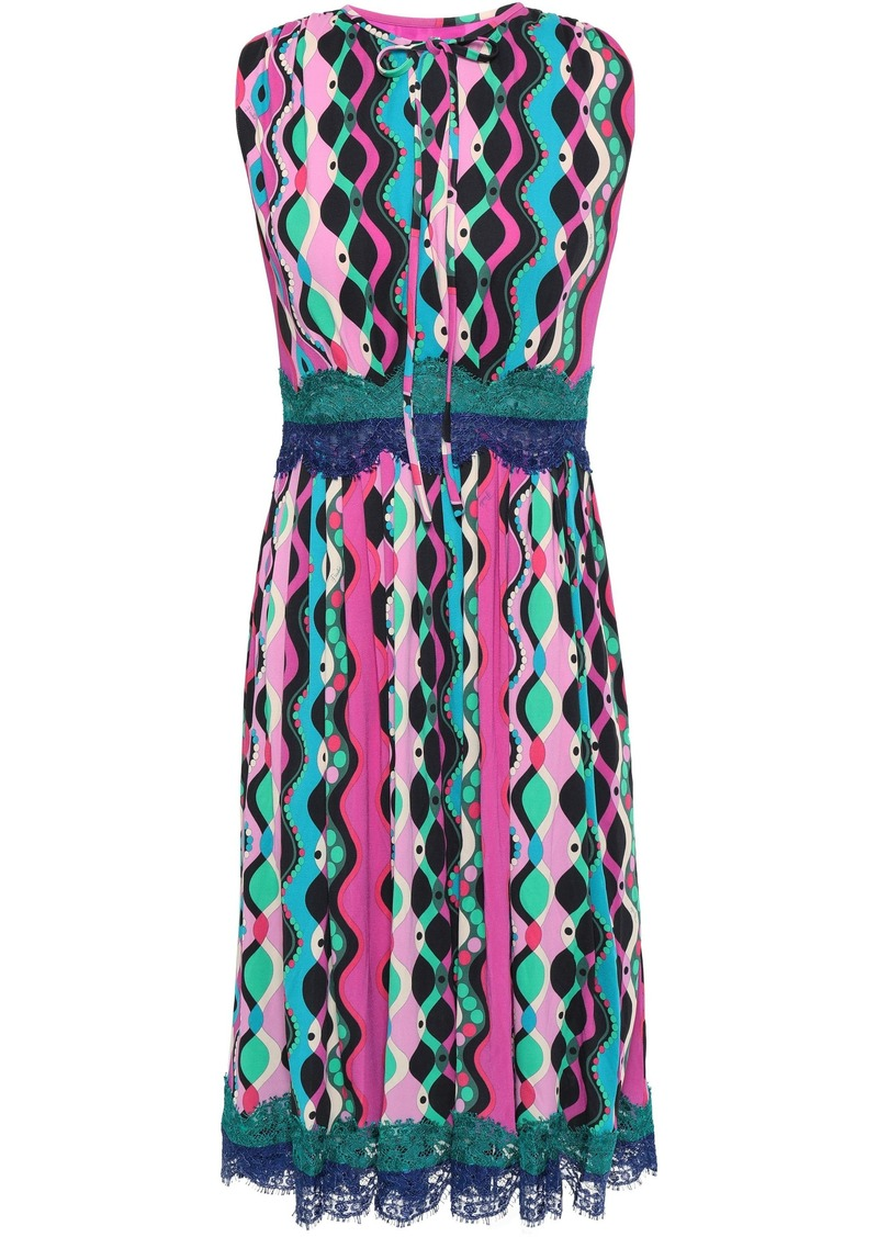 Emilio Pucci Woman Pleated Lace-trimmed Printed Stretch-jersey Midi Dress Fuchsia