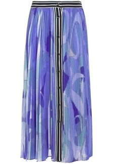 Emilio Pucci Woman Pleated Printed Crepe De Chine Midi Skirt Lavender