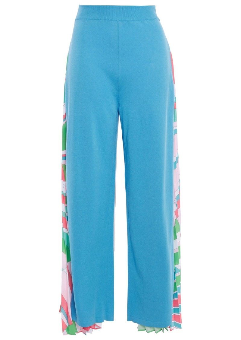 Emilio Pucci Woman Pleated Printed Crepe De Chine-paneled Cotton-blend Jersey Wide-leg Pants Light Blue