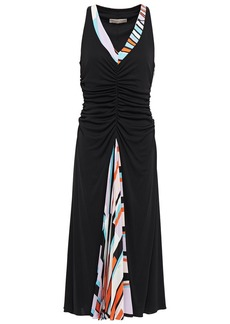 Emilio Pucci Woman Pleated Printed Crepe De Chine-paneled Ruched Jersey Dress Black