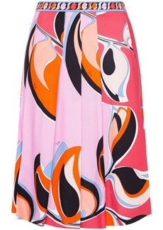 Emilio Pucci Woman Pleated Printed Crepe Skirt Baby Pink