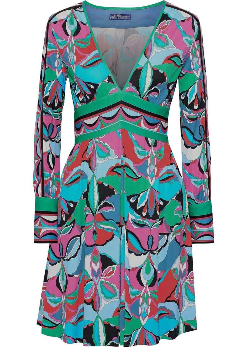 Emilio Pucci Woman Pleated Printed Jersey Mini Dress Turquoise