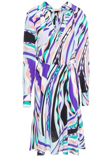 Emilio Pucci Woman Pleated Printed Silk Crepe De Chine Dress Turquoise