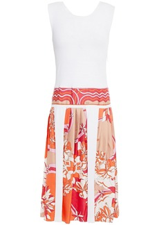 Emilio Pucci Woman Pleated Printed Silk-twill And Stretch-crepe Dress White