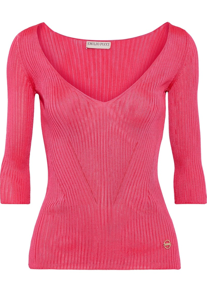 Emilio Pucci Woman Pointelle-trimmed Ribbed-knit Top Fuchsia