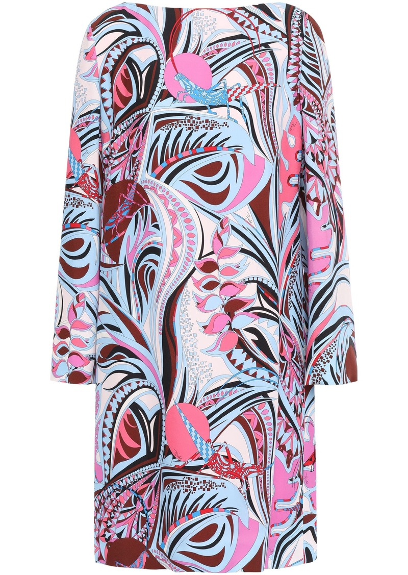 Emilio Pucci Woman Printed Cady Mini Dress Light Blue