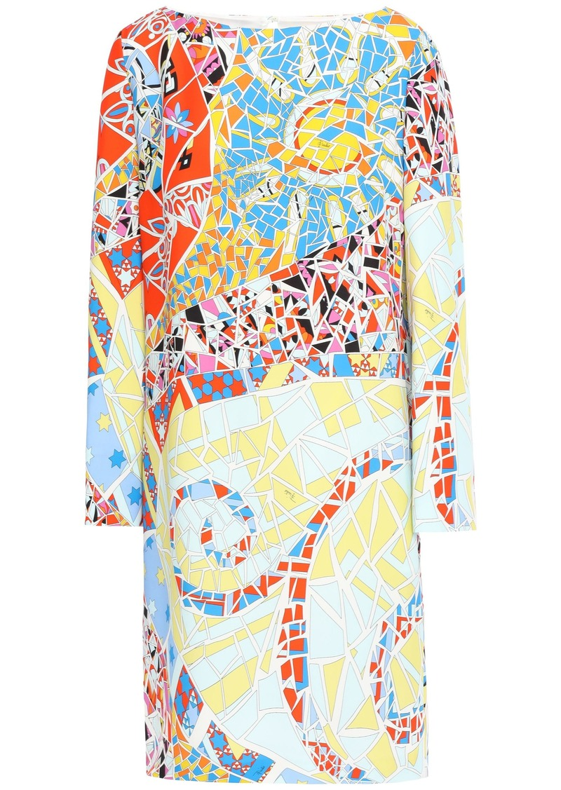 Emilio Pucci Woman Printed Cady Mini Dress Sky Blue