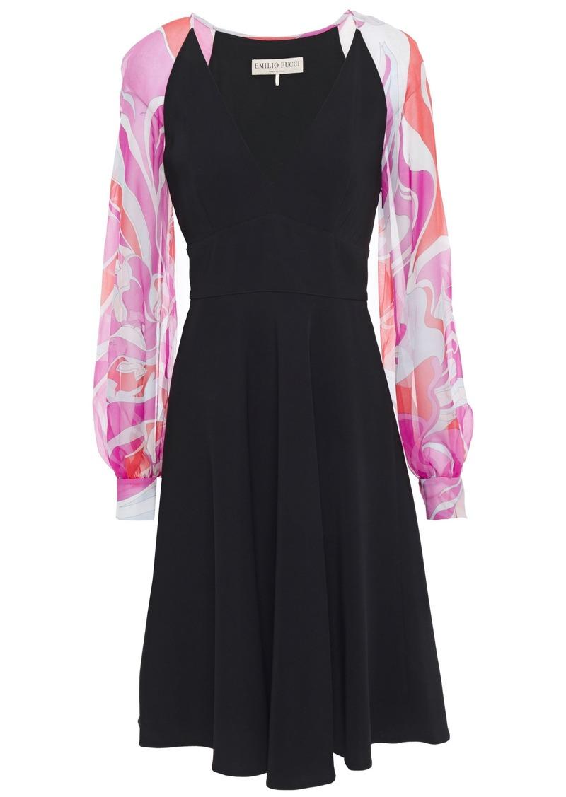 Emilio Pucci Woman Printed Chiffon-paneled Cady Dress Black