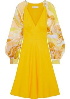 Emilio Pucci Woman Printed Chiffon-paneled Cady Dress Marigold
