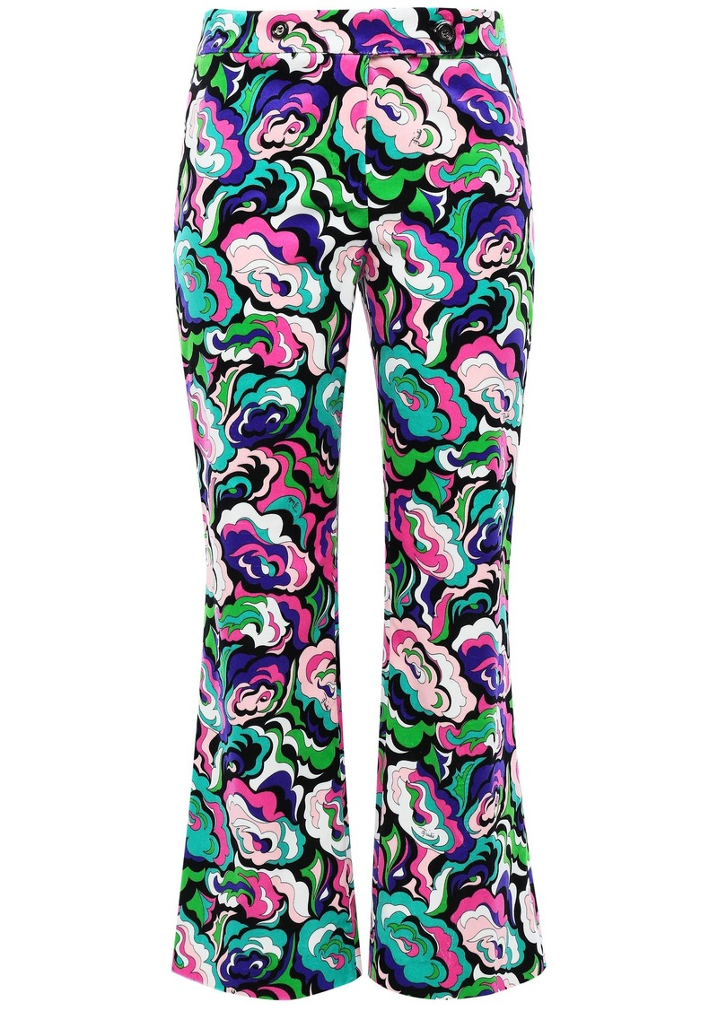 Emilio Pucci Woman Printed Cotton-blend Velvet Kick-flare Pants Green