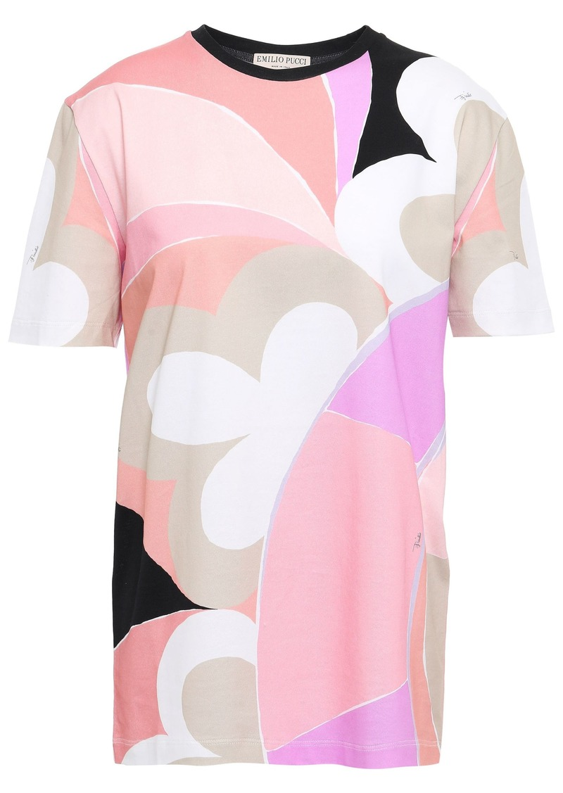 Emilio Pucci Woman Printed Cotton-jersey T-shirt Blush