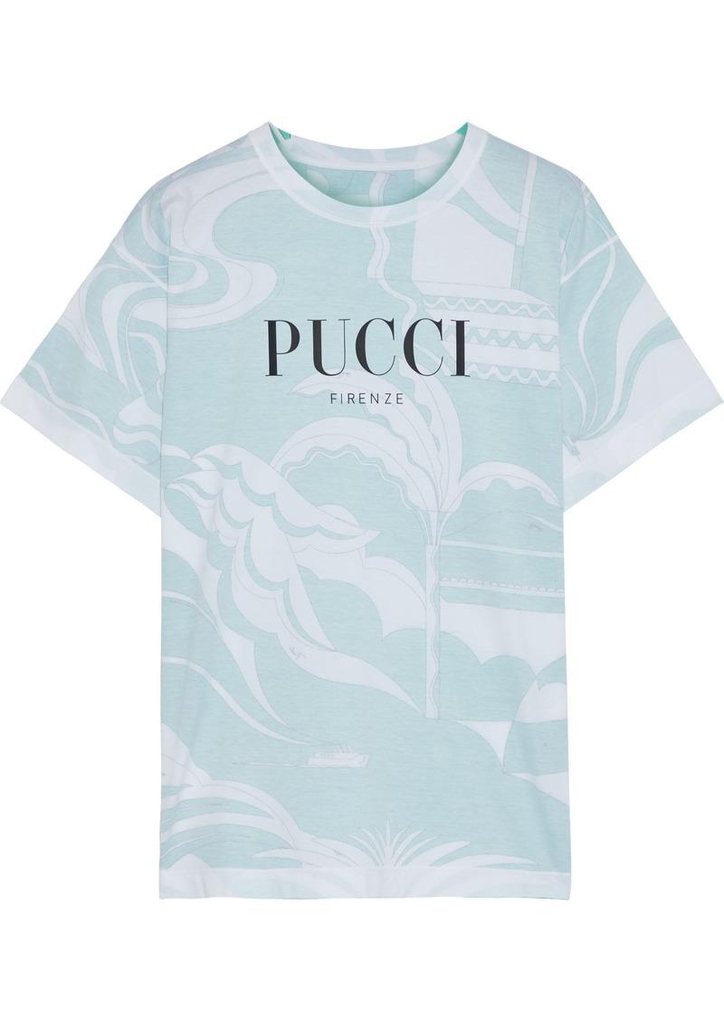 Emilio Pucci Woman Printed Cotton-jersey T-shirt Mint